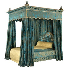 Bed State, 19th Century, English Charles II-Style, Upholstered in Blue