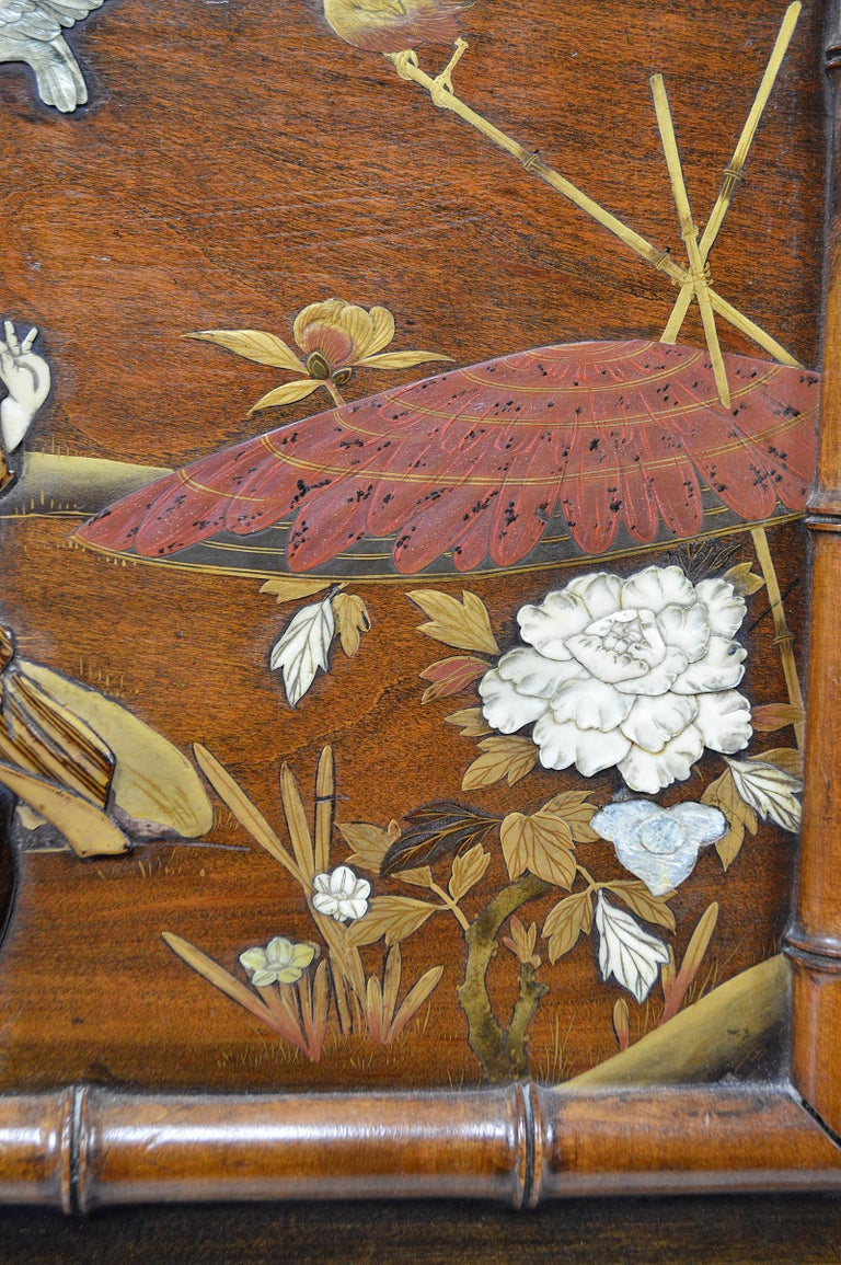 Bed with Japanese Inlaid Panels, Japonisme, France, circa 1880 6