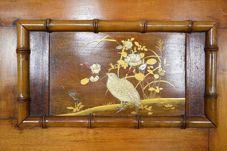 Bed with Japanese Inlaid Panels, Japonisme, France, circa 1880 10