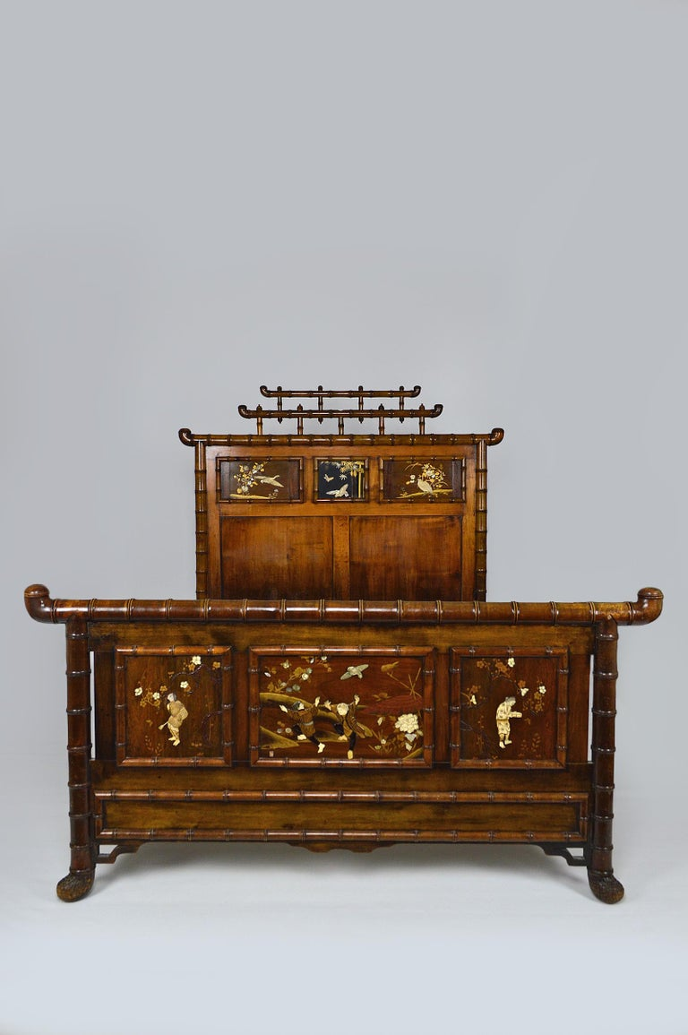 French Bed with Japanese Inlaid Panels, Japonisme, France, circa 1880