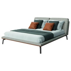 Bed with Solidwood Frame and Plywood Leather or Fabric Upholstered Ash Grey Feet