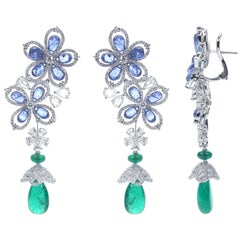 Bedazzling 18 Karat White Gold, Diamond, Sapphire and Emerald Drop Earrings