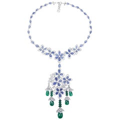 Bedazzling 18 Karat White Gold, Diamond, Sapphire and Emerald Drop Necklace