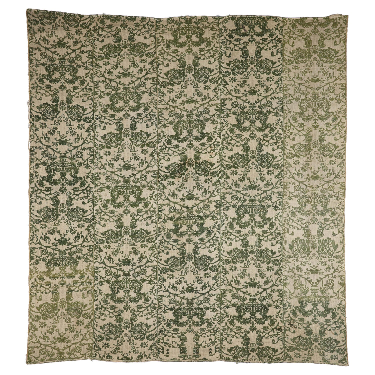Bedcover Hanging Curtains Linen Green Ivory Damask Handwoven