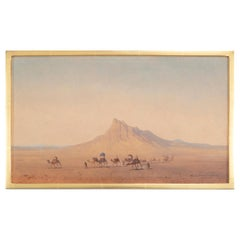 """Bedouins in the Desert"" Oil on Panel by Henrik Ankarcrona (1831 - 1917)"