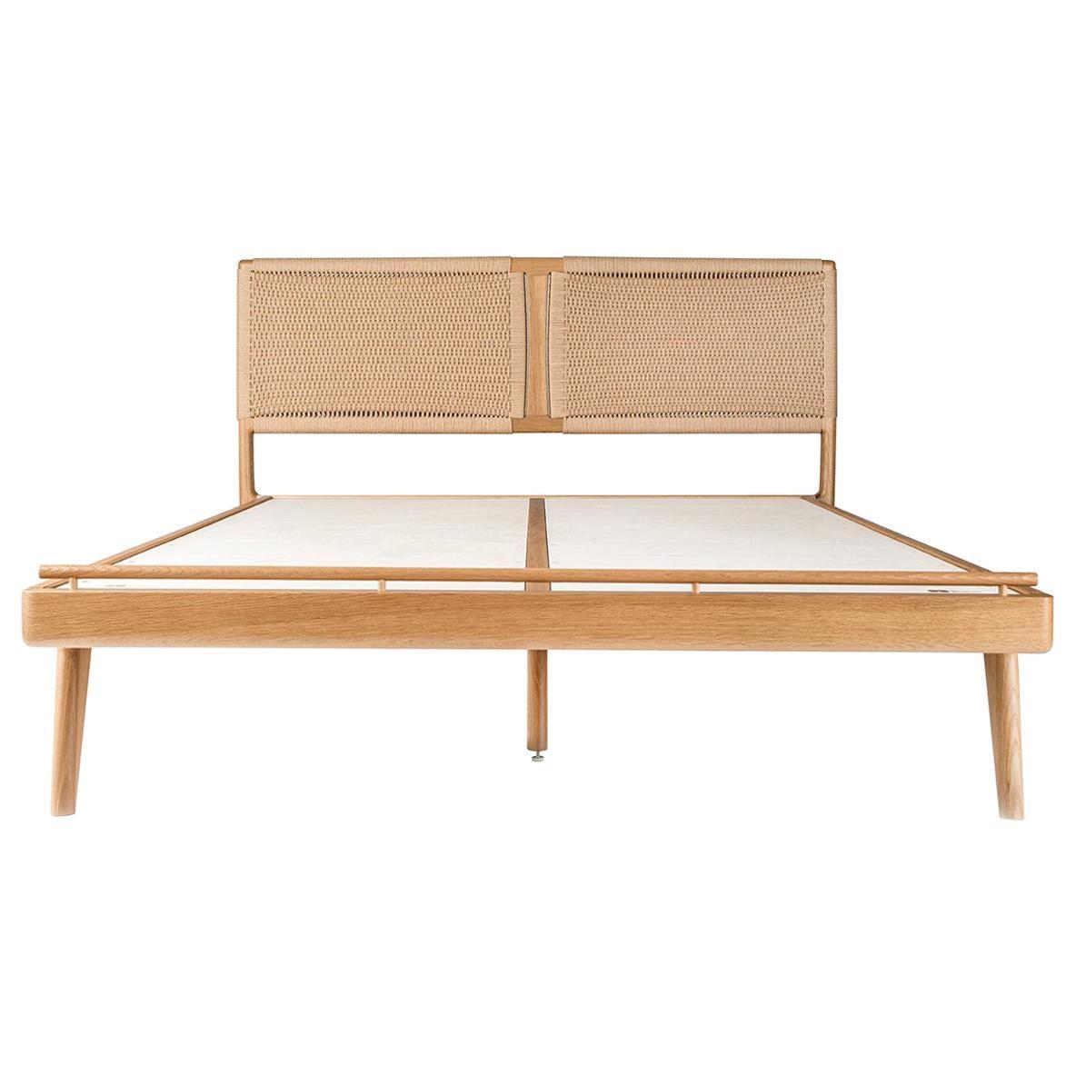 Bed, Queen, Danish cord, Woven, Headboard, Mid Century Modern-Style, Hardwood