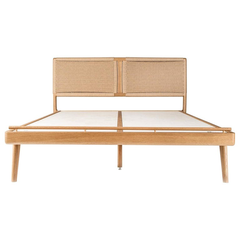 Bed, Queen, Danish cord, Woven, Headboard, Mid Century Modern-Style, Hardwood For Sale