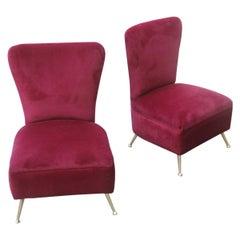 Bedroom Chairs Dark Red Velvet Feet Brass Midcentury Italian Design Gigi Radice
