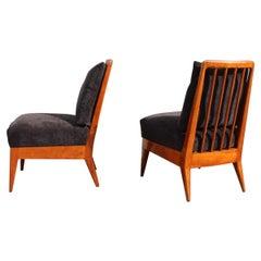 Bedroom Chairs Paolo Buffa Design 1950 Cherrywood Black Velvet Italian