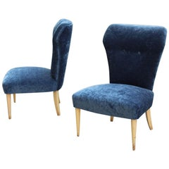 Bedroom Pair of Chairs Midcentury Italian Design Blue Fabric White Feet