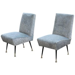 Bedroom Pair of Chairs Midcentury Italian Design gold Brass Pearl Gray Fabric