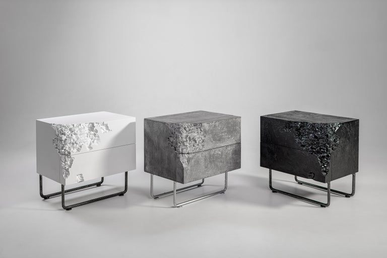 Facades of the bedside table decorated with asymmetric milling patterns (they are not identical on the right and left curbstones). The game of contrasts of pure colors and