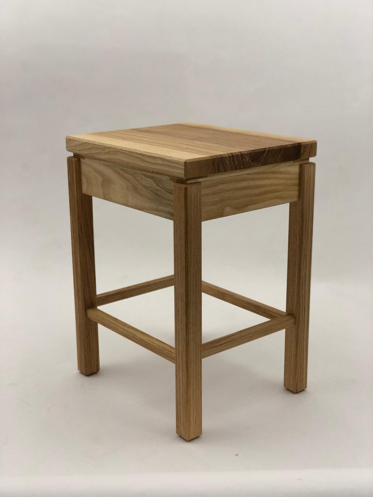 North American Bedside Table in White Ash with Oil Finish For Sale