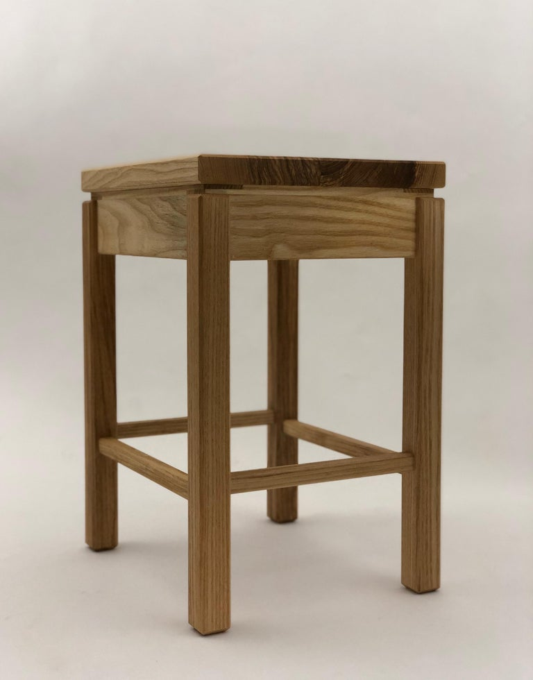 Oiled Bedside Table in White Ash with Oil Finish For Sale