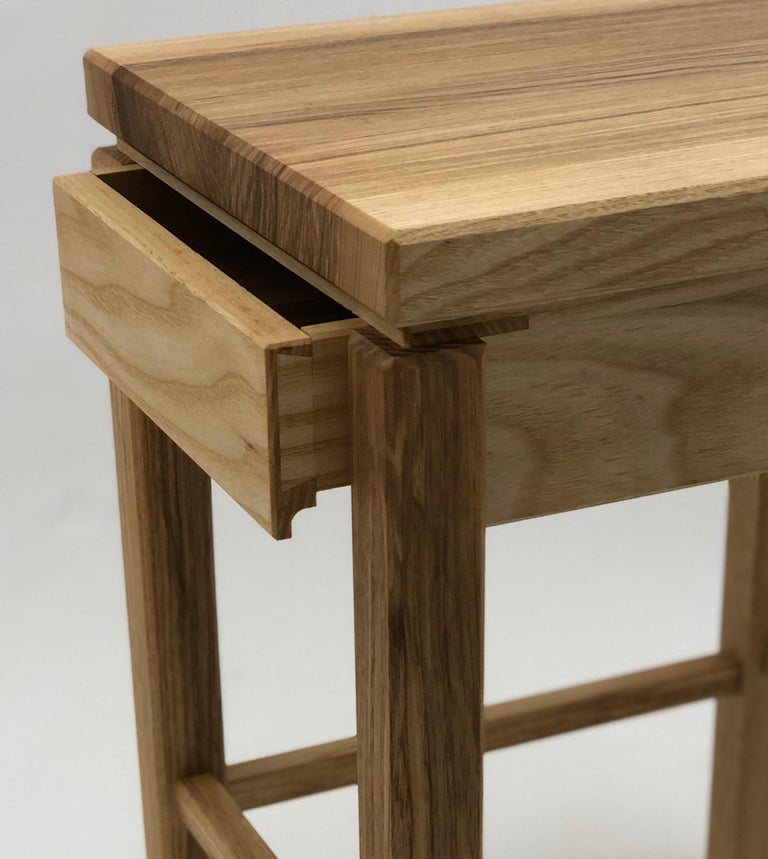 Bedside Table in White Ash with Oil Finish In New Condition For Sale In Princeton, NJ