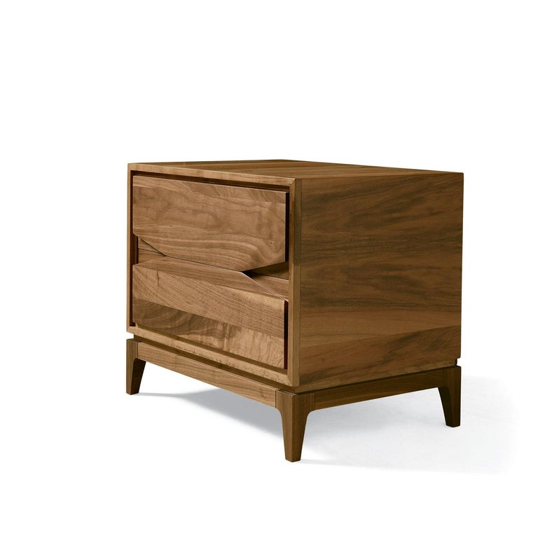 Bedside table in walnut with two drawers in solid walnut. Internal drawers made in solid wood. Oil finish - Made in Italy.