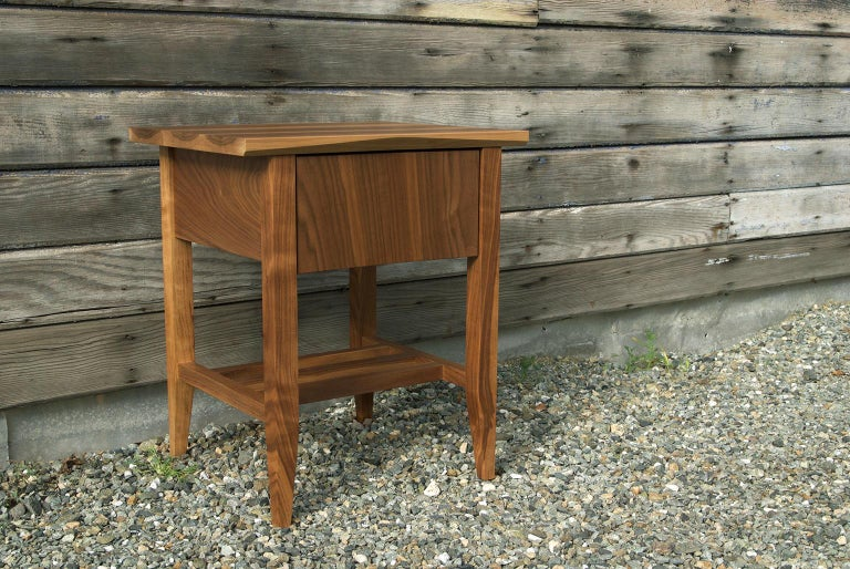American Bedside Table, Nightstand, Storage, Walnut, Customizable, Modern, Semigood, Rift For Sale