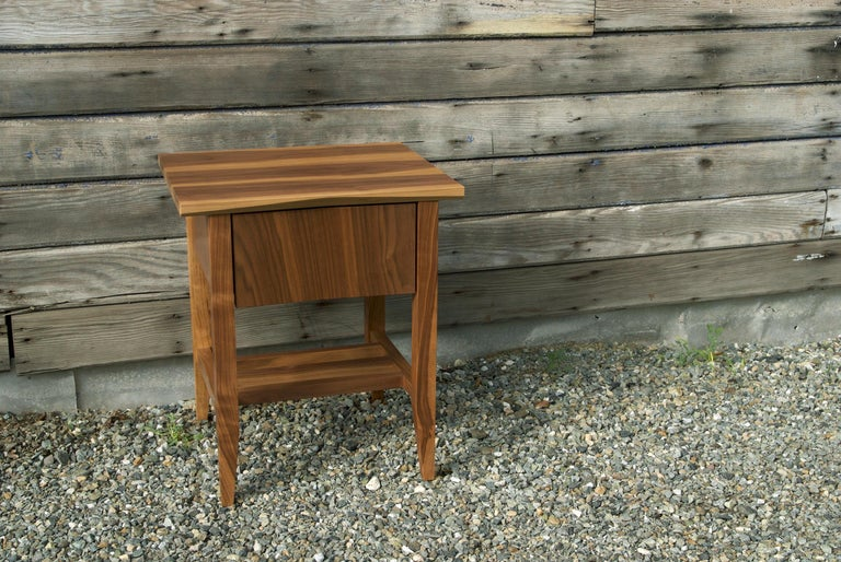 Hand-Crafted Bedside Table, Nightstand, Storage, Walnut, Customizable, Modern, Semigood, Rift For Sale
