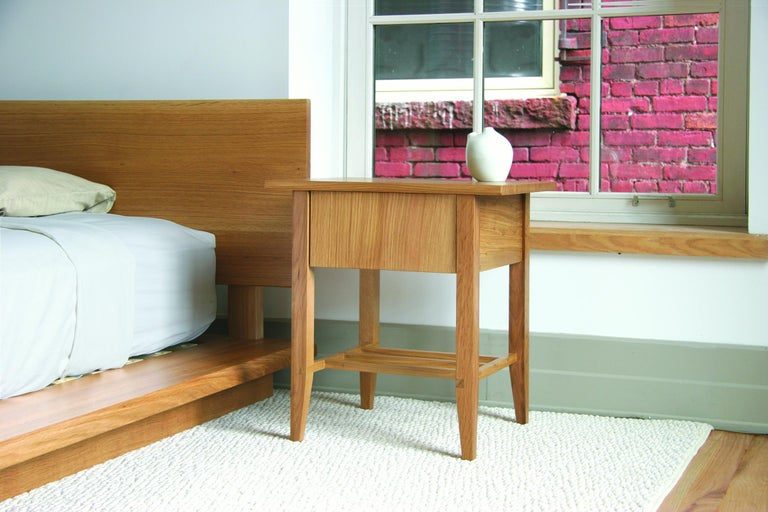 Bedside Table, Nightstand, Storage, Walnut, Customizable, Modern, Semigood, Rift In New Condition For Sale In Issaquah, WA