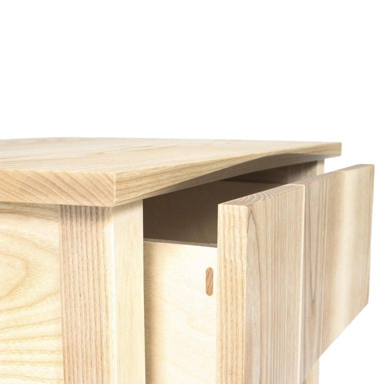 Modern Bedside Table, Nightstand, Storage, White Ash, Custom, Hardwood, Semigood Design For Sale