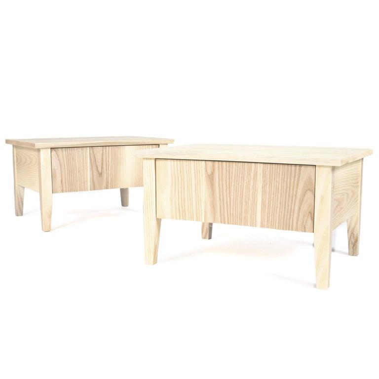 American Bedside Table, Nightstand, Storage, White Ash, Custom, Hardwood, Semigood Design For Sale