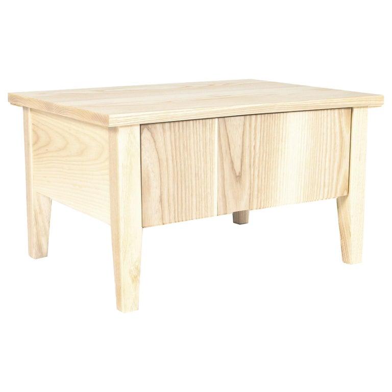 Bedside Table, Nightstand, Storage, White Ash, Custom, Hardwood, Semigood Design For Sale