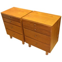 Bedside Tables End Tables Style of Paul McCobb with Authentic McCobb Pulls, Pair