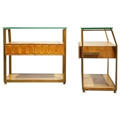 Bedside Tables, Midcentury, Brass, Maple, Crystal Glass, Mobile Di Cantú, Italy