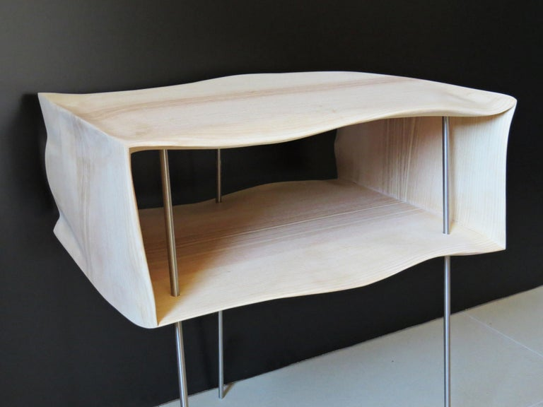 Organic Modern Bedside Tables, Organic Design, Handmade, Two-Pieces Set, Solid Wood For Sale
