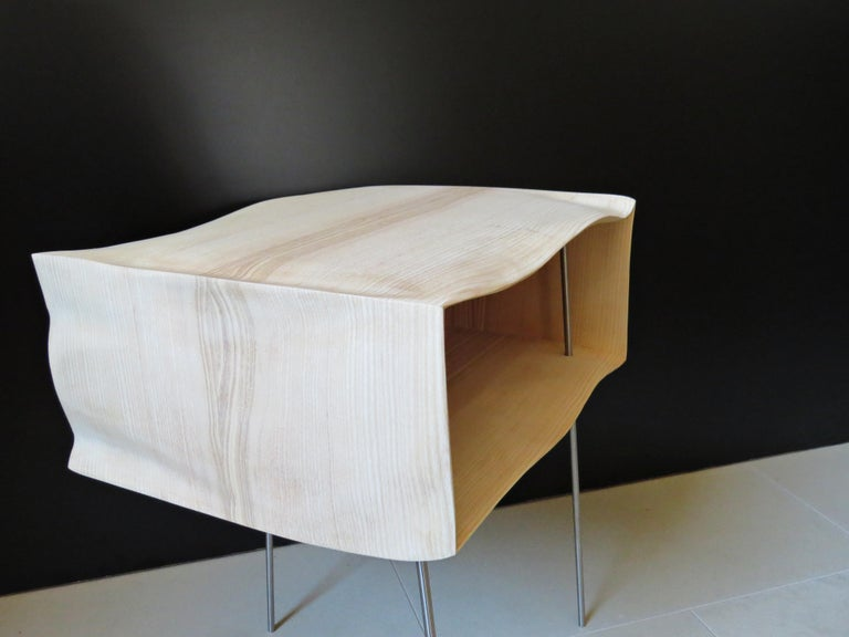 German Bedside Tables, Organic Design, Handmade, Two-Pieces Set, Solid Wood For Sale