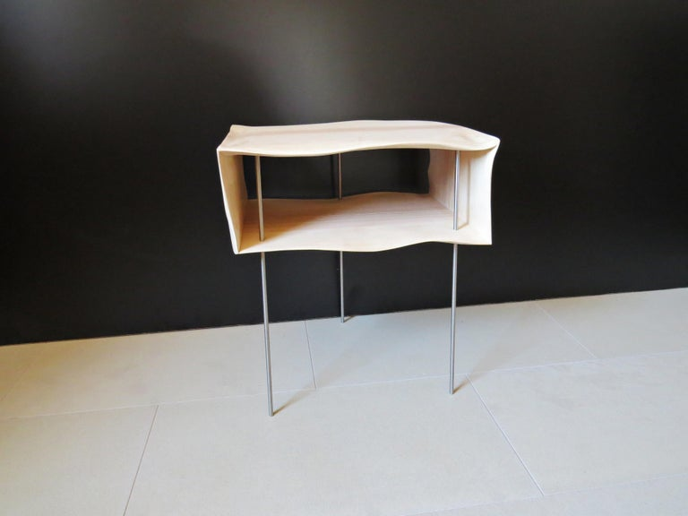 Hand-Crafted Bedside Tables, Organic Design, Handmade, Two-Pieces Set, Solid Wood For Sale