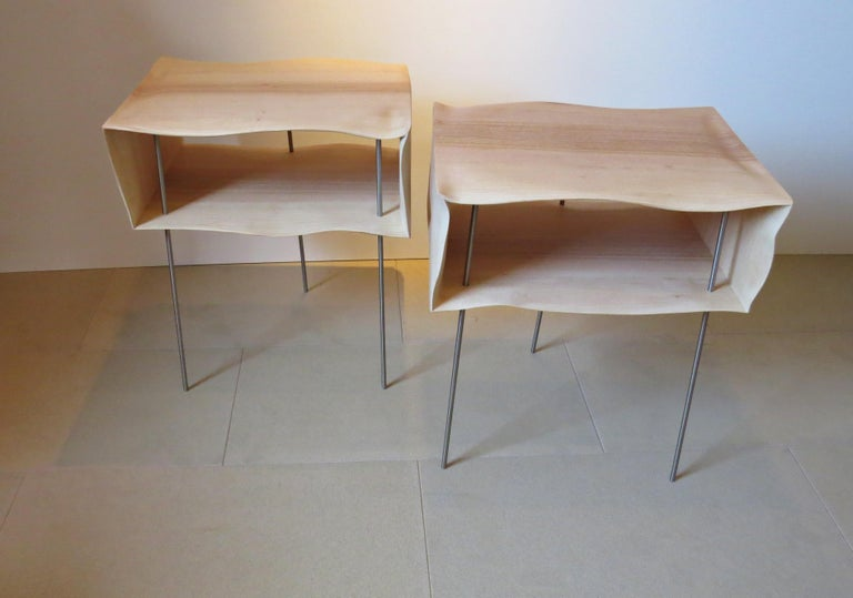 Contemporary Bedside Tables, Organic Design, Handmade, Two-Pieces Set, Solid Wood For Sale