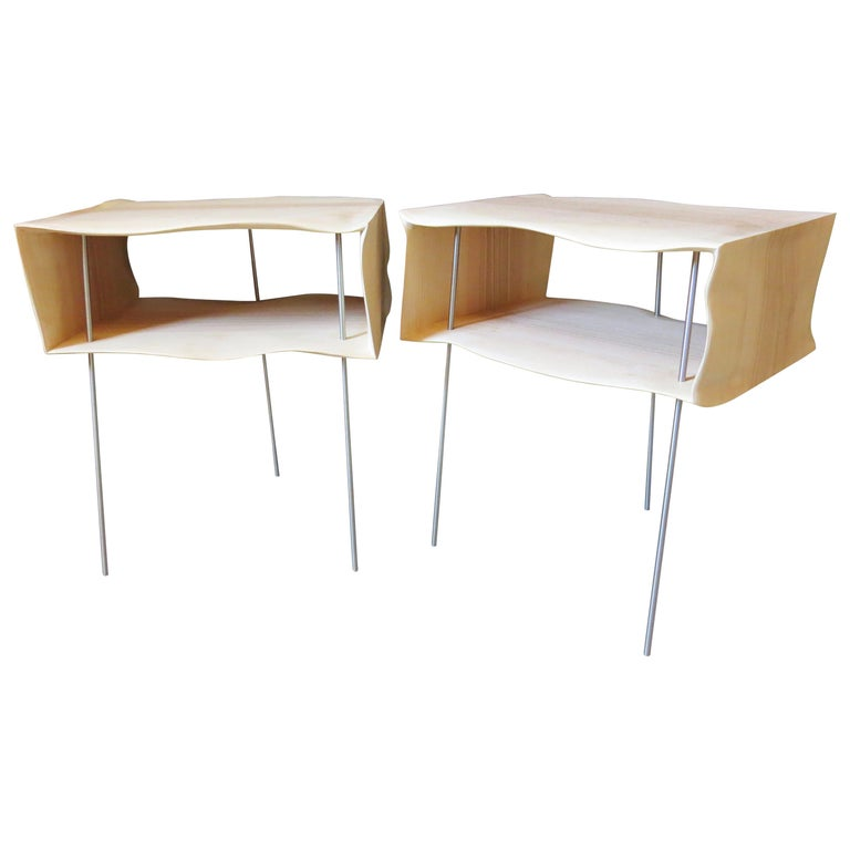Bedside Tables, Organic Design, Handmade, Two-Pieces Set, Solid Wood For Sale