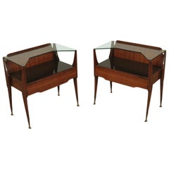 Bedside Tables, wood, Back-Treated Glass Brass, Italy, 1950s-1960s