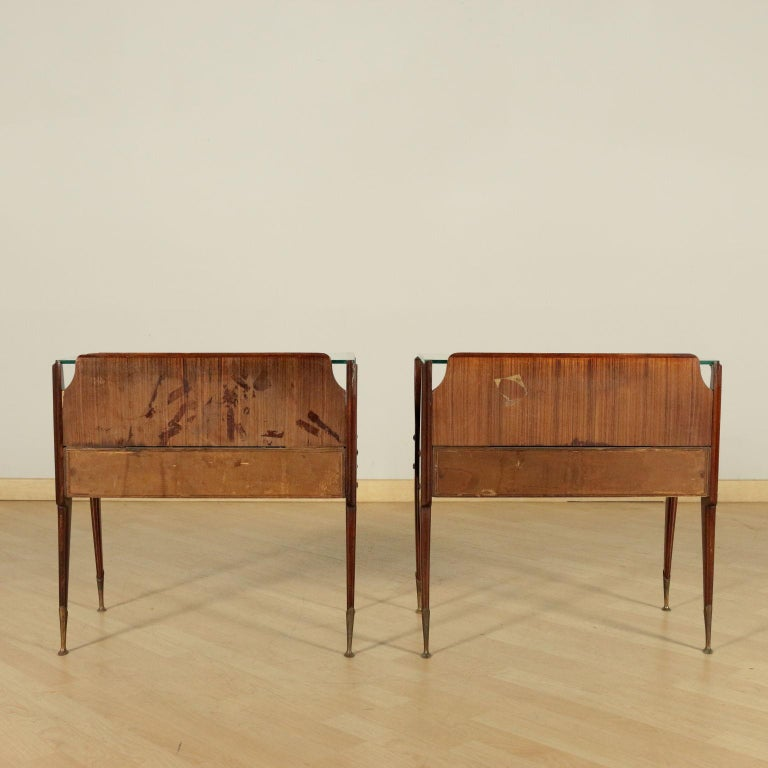 Bedside Tables, wood, Back-Treated Glass Brass, Italy, 1950s-1960s 3