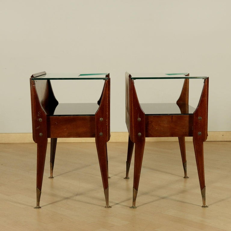 Mid-Century Modern Bedside Tables, wood, Back-Treated Glass Brass, Italy, 1950s-1960s