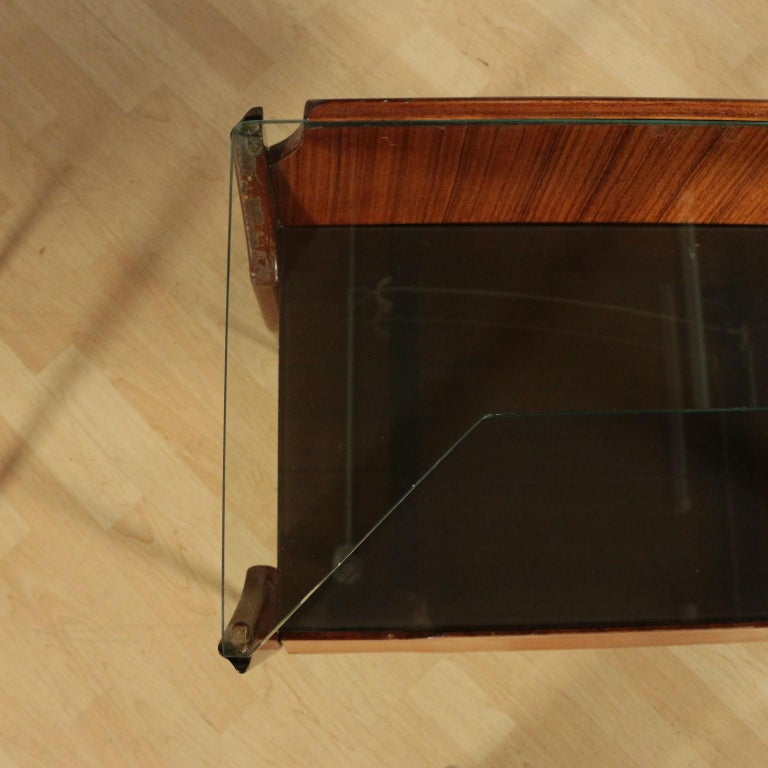 Italian Bedside Tables, wood, Back-Treated Glass Brass, Italy, 1950s-1960s