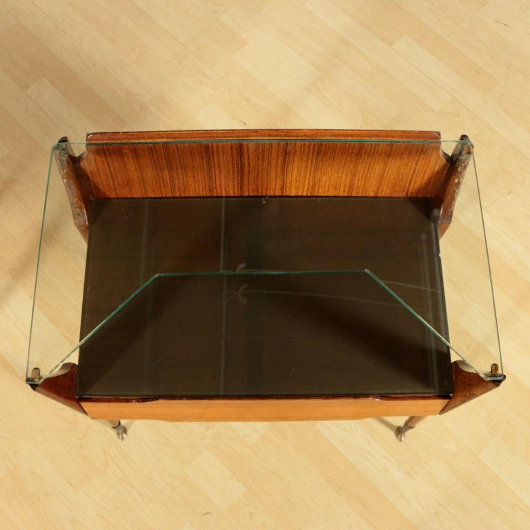 Other Bedside Tables, wood, Back-Treated Glass Brass, Italy, 1950s-1960s
