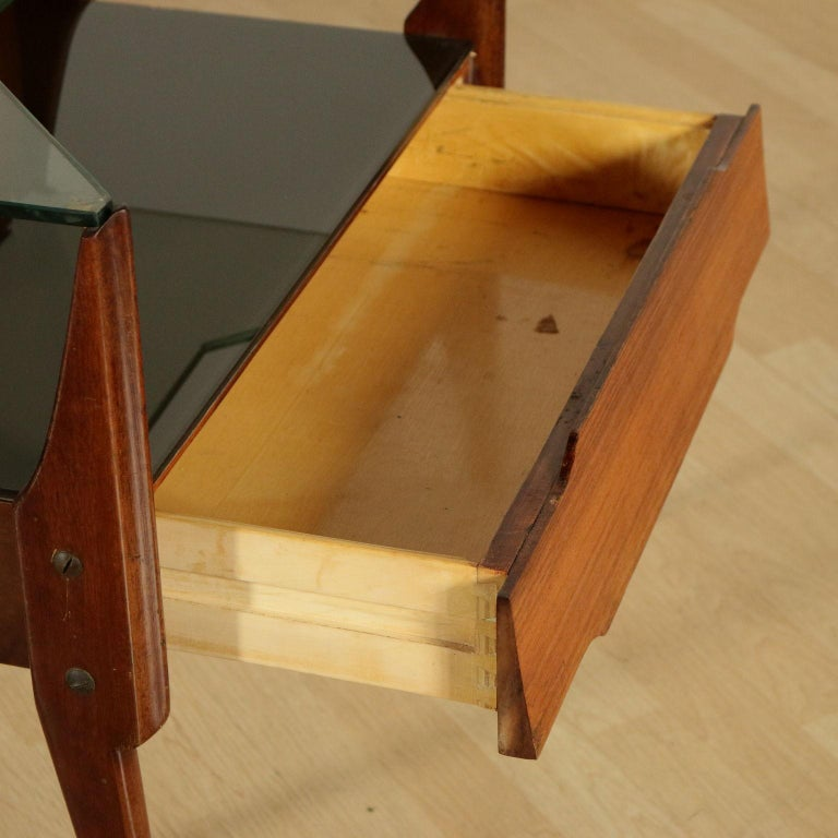 Bedside Tables, wood, Back-Treated Glass Brass, Italy, 1950s-1960s In Good Condition In Milano, IT