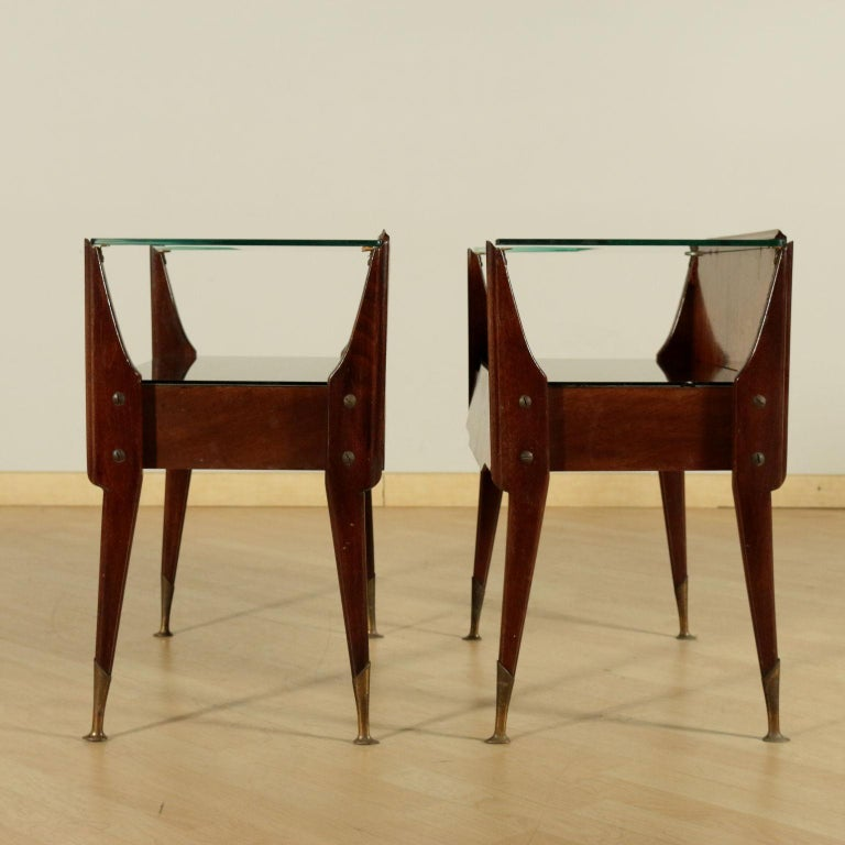 Bedside Tables, wood, Back-Treated Glass Brass, Italy, 1950s-1960s 2