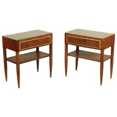 Bedside Tables Stained Beech Mahogany Veneer Glass, Italy, 1950s