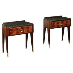Bedside Tables Veneered Wood Marble Brass, Italy, 1950s-1960s