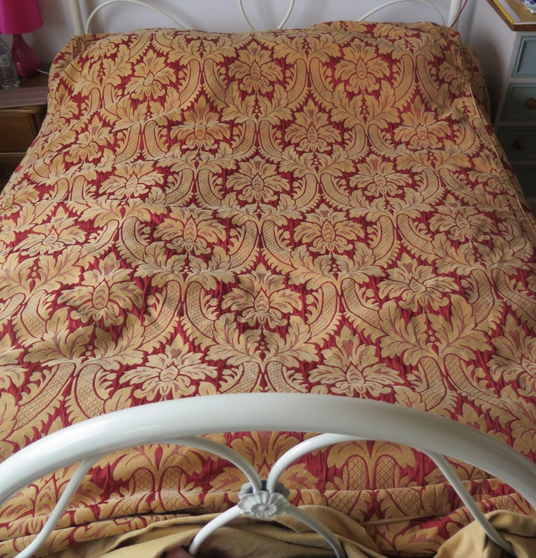 Woven Bedspread or Throw Double Bed Size Box Pleats Baroque Pattern, Vintage For Sale