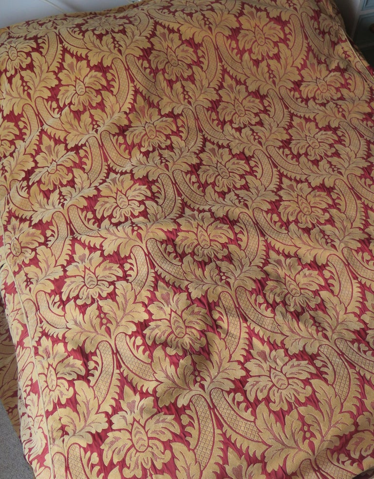20th Century Bedspread or Throw Double Bed Size Box Pleats Baroque Pattern, Vintage For Sale