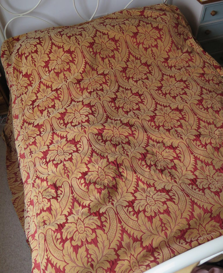 Fabric Bedspread or Throw Double Bed Size Box Pleats Baroque Pattern, Vintage For Sale