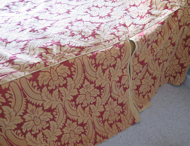 Bedspread or Throw Double Bed Size Box Pleats Baroque Pattern, Vintage For Sale 1