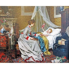 """""""Bedtime"""" by Jan Portielje, Oil on Canvas Signed"""