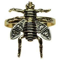 Bee Black Enamel Rose Cut Diamonds Yellow Gold Art Nouveau Ring