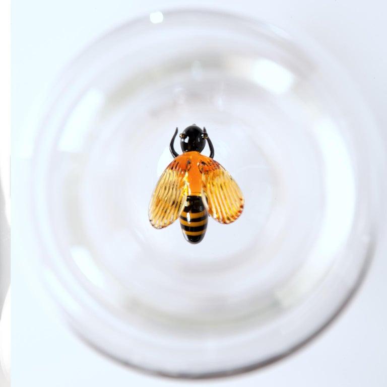 Italian 'Bee Bottle' Hand Blown Glass Bottle by Simone Crestani For Sale