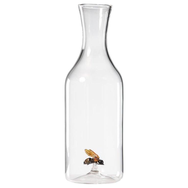 'Bee Bottle' Hand Blown Glass Bottle by Simone Crestani For Sale